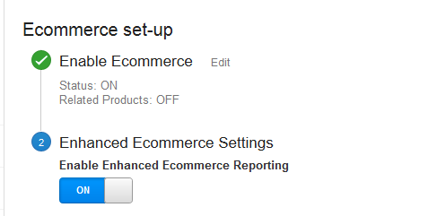 Enable Enhanced Ecommerce Settings